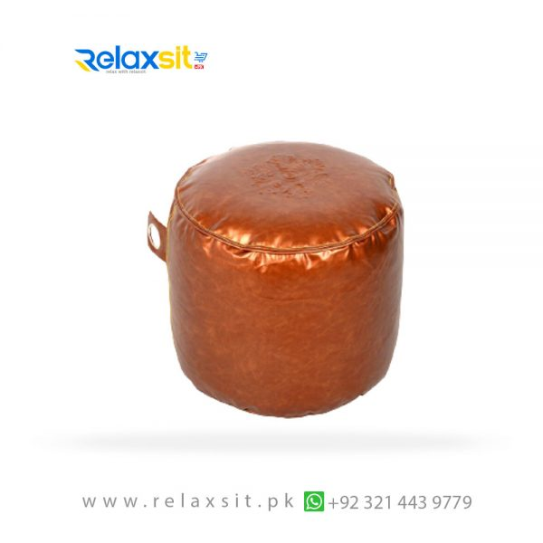 12-Relaxsit-Products-02 round metallic leather bean bag stool